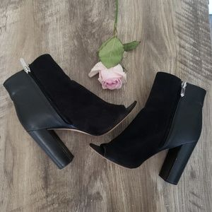 Sam Edelman Boots Black Zip Up Peep Toe Size 8.5